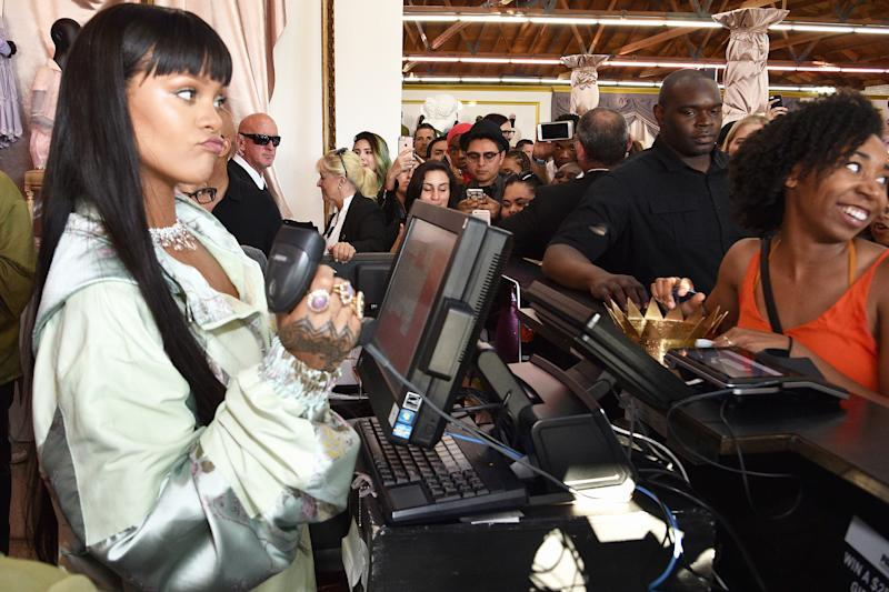 Rihanna Works the Cash Register at Her Own Fenty x Puma Pop-Up Shop While Wearing $236,937 in Diamonds