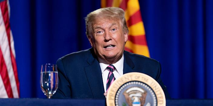 """President Donald Trump speaks during a Latinos for Trump Coalition roundtable campaign event at Arizona Grand Resort & Spa, Monday, Sept. 14, 2020, in Phoenix. <p class=""""copyright"""">AP Photo/Andrew Harnik</p>"""
