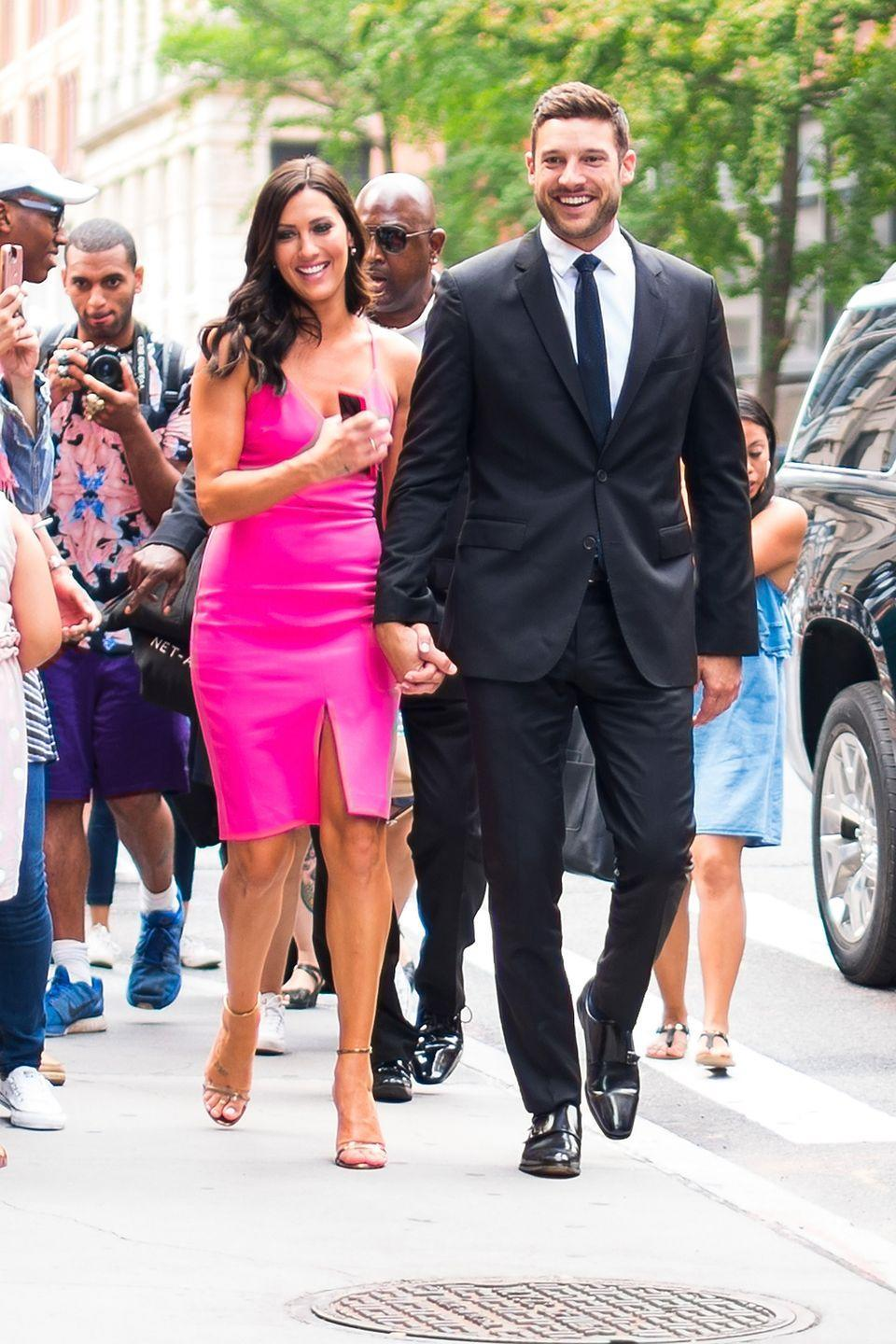 """<p>Becca Kufrin and Garrett Yrigoyen got engaged during Becca's season of <em>The Bachelorette </em>and seemed to be going strong for the two years they were engaged...that is, until <a href=""""https://www.cosmopolitan.com/entertainment/tv/a32815915/becca-kufrin-disagrees-garrett-yrigoyen-police-force-instagram/"""" rel=""""nofollow noopener"""" target=""""_blank"""" data-ylk=""""slk:Garrett made a hefty pro-police statement to his Instagram in light of the George Floyd protests"""" class=""""link rapid-noclick-resp"""">Garrett made a hefty pro-police statement to his Instagram in light of the George Floyd protests </a>back in June. Becca called his post """"tone deaf"""" and said she didn't """"align"""" with his values, and nearly three months after his comments, she confirmed their split on <em>The Bachelor Happy Hour </em>podcast. """"Garrett and I have decided to end our engagement,"""" she said.""""It wasn't based solely off of one Instagram post or somebody else's opinions or comments.""""</p>"""