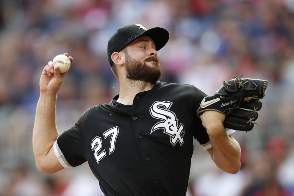 Chicago White Sox starting pitcher Lucas Giolito works in the first inning of a baseball game against the Atlanta Braves, Sunday, Sept. 1, 2019, in Atlanta. (AP Photo/John Bazemore)