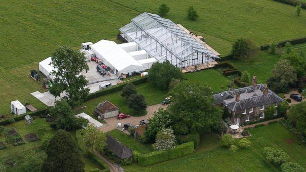PHOTO: Aerials views of the Middleton family home in Bucklebury, UK where a gigantic conservatory-style marquee dominates the surrounding gardens. Preparations continue for the upcoming wedding of Pippa Middleton to James Matthews. (Jenkins/Sirc/Splash News)