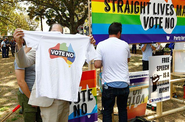 Anti same-sex marriage supporters are seen at a