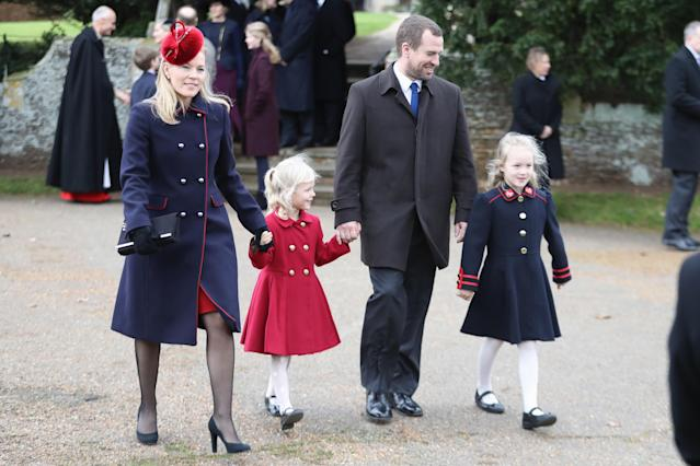 Autumn, Isla, Peter and Savannah Phillips at church on Christmas Day (Getty)