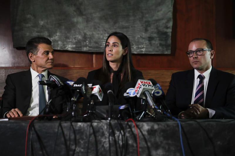 Former sports reporter Kelli Tennant speaks at a news conference Tuesday in Los Angeles about the lawsuit she filed Monday accusing Sacramento Kings coach Luke Walton of assaulting her in a hotel room in Santa Monica in 2014. (Jae C. Hong/ASSOCIATED PRESS)