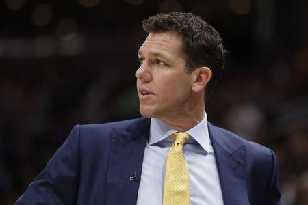 FILE PHOTO: Mar 27, 2019; Salt Lake City, UT, USA; Los Angeles Lakers head coach Luke Walton watches the action against the Utah Jazz in the first half at Vivint Smart Home Arena. Mandatory Credit: Jeff Swinger-USA TODAY Sports