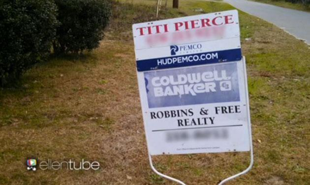 The sign Ellen DeGeneres showed her audience, featuring Titi's name. Photo: YouTube