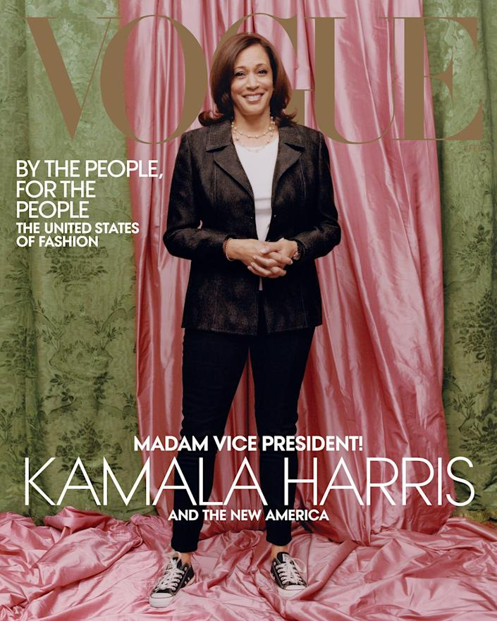 """The February """"Vogue"""" cover depicts Vice President-elect Kamala Harris in pearls and Converse Chuck Taylors."""