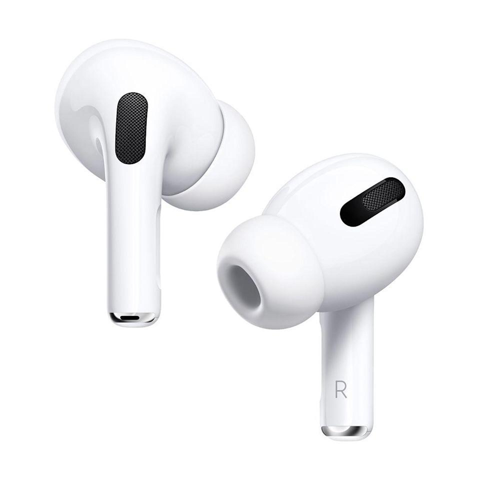 """<p><strong>Apple</strong></p><p>amazon.com</p><p><strong>$229.95</strong></p><p><a href=""""https://www.amazon.com/dp/B07ZPC9QD4?tag=syn-yahoo-20&ascsubtag=%5Bartid%7C2089.g.864%5Bsrc%7Cyahoo-us"""" rel=""""nofollow noopener"""" target=""""_blank"""" data-ylk=""""slk:Shop Now"""" class=""""link rapid-noclick-resp"""">Shop Now</a></p><p>The AirPods Pro are the completely wireless Apple earbuds the world has been waiting for! The buds have cutting-edge noise-canceling tech and equally impressive sound quality. They are also the first AirPods to have an IPX4 rating for water resistance, meaning that you can use them while exercising.</p><p>The AirPods Pro can deliver up to 4.5 hours of wireless playback with noise-canceling or transparency mode switched on. Their wireless charging case holds several full charges. <br><br><strong>More: </strong><a href=""""https://www.bestproducts.com/tech/gadgets/a29666788/apple-airpods-pro-review/"""" rel=""""nofollow noopener"""" target=""""_blank"""" data-ylk=""""slk:A Review of the Apple AirPods Pro"""" class=""""link rapid-noclick-resp"""">A Review of the Apple AirPods Pro</a></p>"""