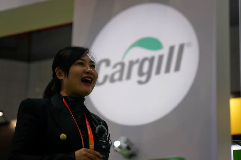 A Cargill sign is seen during the China International Import Expo (CIIE), at the National Exhibition and Convention Center in Shanghai