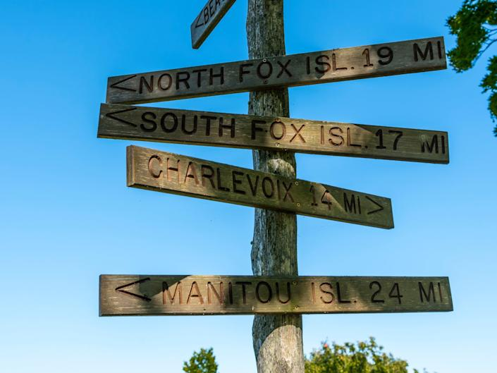 North and South Fox Islands signs lake michigan
