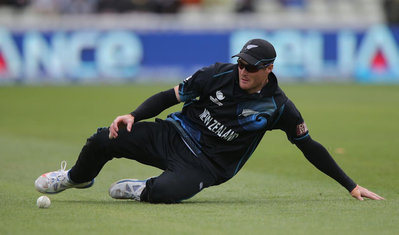 New Zealand's Martin Gutpill collects a ball during game against Australia during the ICC Champions Trophy match at Edgbaston, Birmingham.