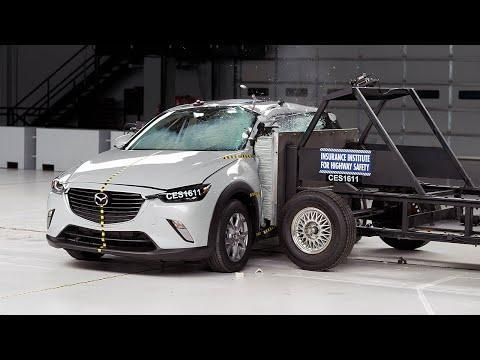 """<p>The smallest SUV in Mazda's lineup is also one of the safest <a href=""""https://www.caranddriver.com/features/g15383346/best-subcompact-suv-ranked/"""" rel=""""nofollow noopener"""" target=""""_blank"""" data-ylk=""""slk:subcompact crossovers in America"""" class=""""link rapid-noclick-resp"""">subcompact crossovers in America</a>. The <a href=""""https://www.caranddriver.com/mazda/cx-3"""" rel=""""nofollow noopener"""" target=""""_blank"""" data-ylk=""""slk:CX-3"""" class=""""link rapid-noclick-resp"""">CX-3</a> earned a five-star rating from NHTSA, as well as Good and Superior ratings from IIHS. Front and side-curtain airbags kept the crash dummy's head from coming close to the steering wheel, roof, and other hard structures. Standard safety features found on every CX-3 include lane-departure warning, active cruise control, automated emergency braking with pedestrian detection, and rear cross-traffic alert. </p><p><a class=""""link rapid-noclick-resp"""" href=""""https://www.caranddriver.com/mazda/cx-3"""" rel=""""nofollow noopener"""" target=""""_blank"""" data-ylk=""""slk:MORE CX-3 INFO"""">MORE CX-3 INFO</a></p><p><a href=""""https://www.youtube.com/watch?v=gOYzd1Lcf3c"""" rel=""""nofollow noopener"""" target=""""_blank"""" data-ylk=""""slk:See the original post on Youtube"""" class=""""link rapid-noclick-resp"""">See the original post on Youtube</a></p>"""