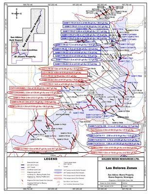 San Albino Gold Deposit and Las Conchitas Zones (CNW Group/Golden Reign Resources Ltd.)