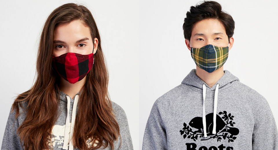 Roots' new plaid face masks have a triple layer design that's perfect for winter. Images via Roots.