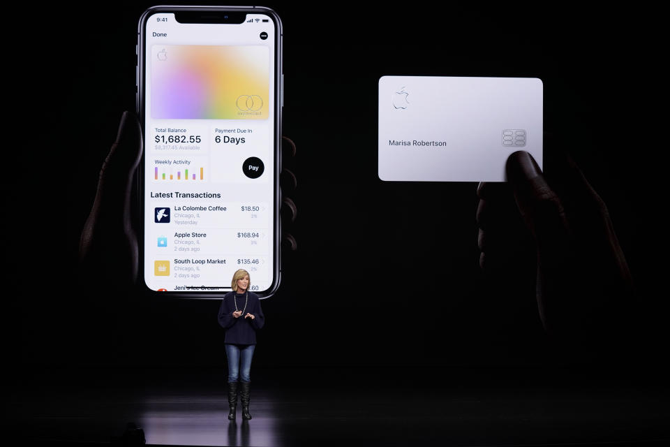 FILE- In this March 25, 2019, file photo, Jennifer Bailey, vice president of Apple Pay, speaks about the Apple Card at the Steve Jobs Theater during an event to announce new products in Cupertino, Calif. The Apple-branded credit card that's designed primarily for mobile use will start rolling out on Tuesday, Aug. 6. (AP Photo/Tony Avelar, File)
