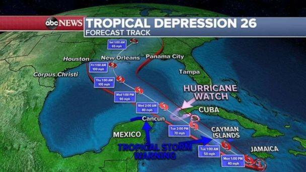 PHOTO: By the end of the week, National Hurricane Center is forecasting hurricane Delta to be in the Gulf of Mexico approaching the Gulf Coast states as a strong Category 1 or even 2 hurricane. (ABC News)