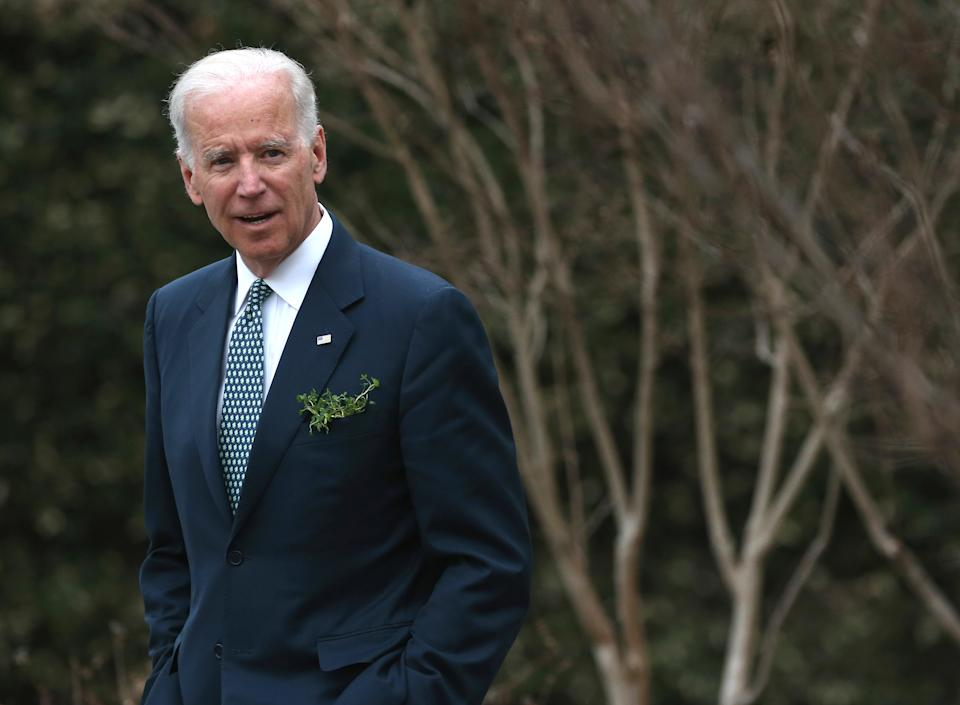 Vice President Joseph Biden waits for the arrival of Prime Minister Enda Kenny of Ireland, at the Naval Observatory, on March 14, 2014 in Washington, DC. Vice President Biden hosted a breakfast for the Irish Prime Minister in honor of St. Patricks Day on Sunday.