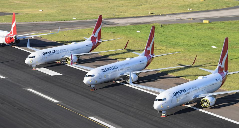 Qantas planes at Sydney Airport.