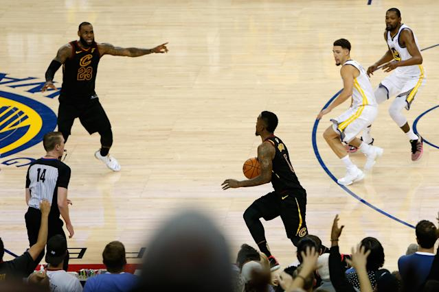 "While he said the mistake will stick with him forever, J.R. Smith isn't taking it too hard. ""We've all messed up."" (Lachlan Cunningham/Getty Images)"