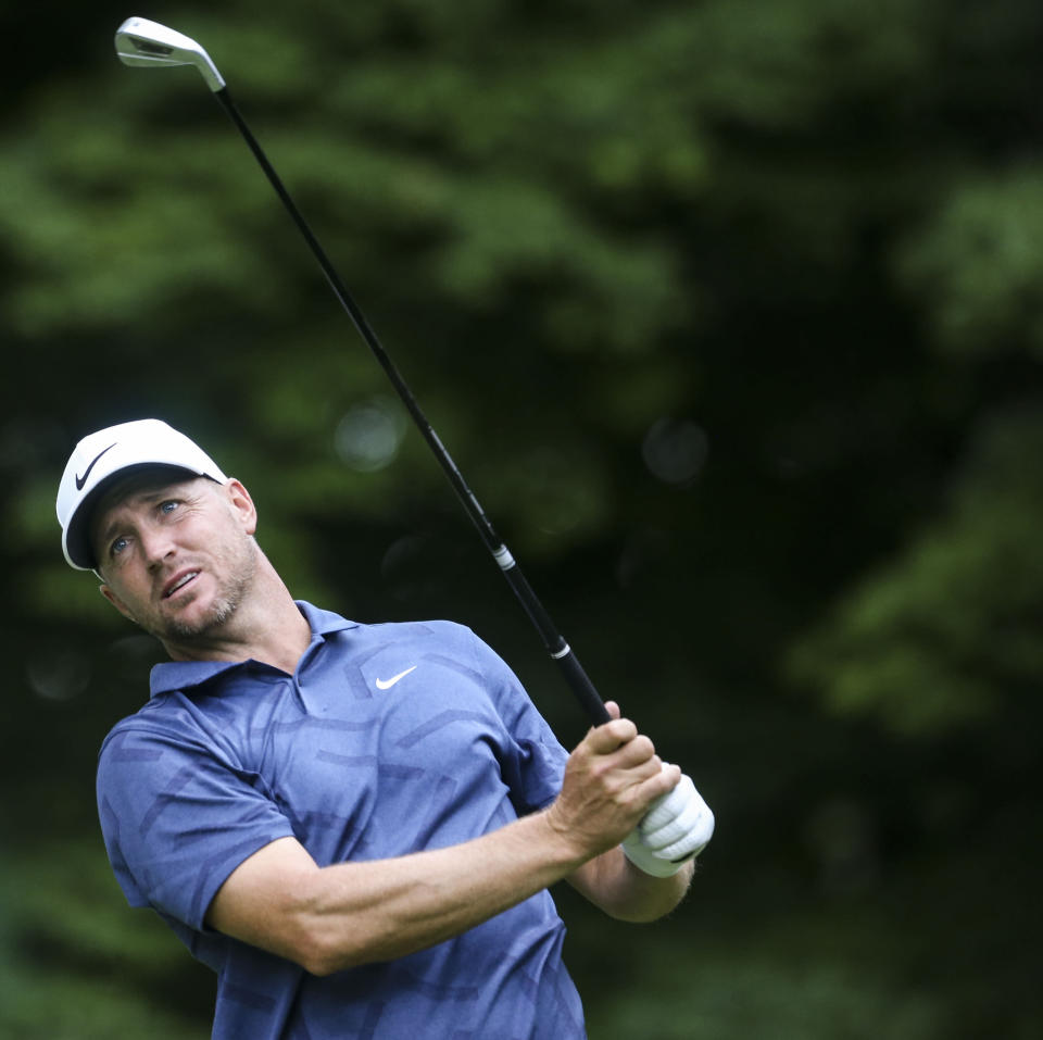 Alex Noren watches his tee shot on the sixth hole during the second round of the John Deere Classic golf tournament Friday, July 9, 2021, in Silvis, Ill. (Jessica Gallagher/The Dispatch – The Rock Island Argus via AP)