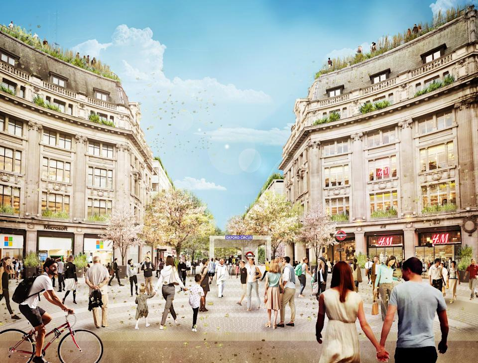 An artist's impression of the of the western piazza with new access into the London Underground