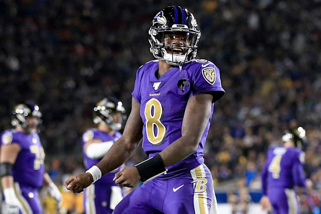 "Fans can get a clearer picture tonight of which defenses <a class=""link rapid-noclick-resp"" href=""/nfl/players/31002/"" data-ylk=""slk:Lamar Jackson"">Lamar Jackson</a> will torch this season, if only for a few hours. (Photo by Sean M. Haffey/Getty Images)"