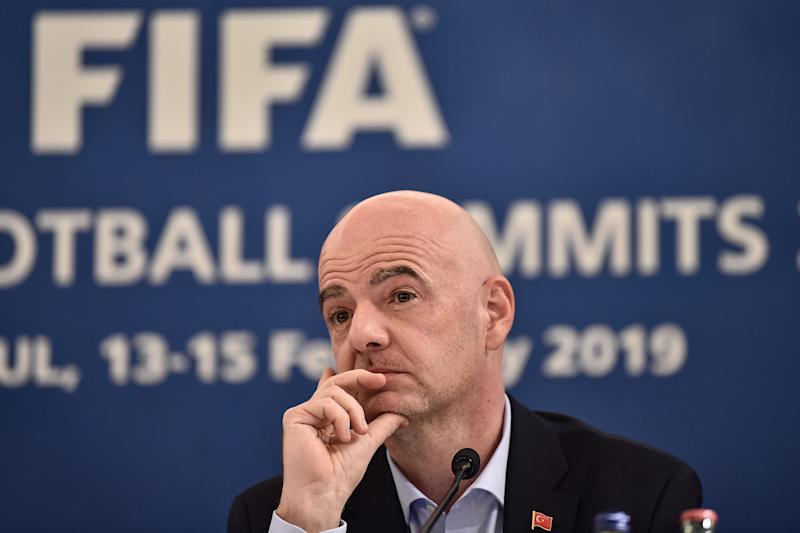 President Gianni Infantino and FIFA have enormous cash reserves and can help soccer through the coronavirus pandemic. But will it happen? (OZAN KOSE/AFP via Getty Images)