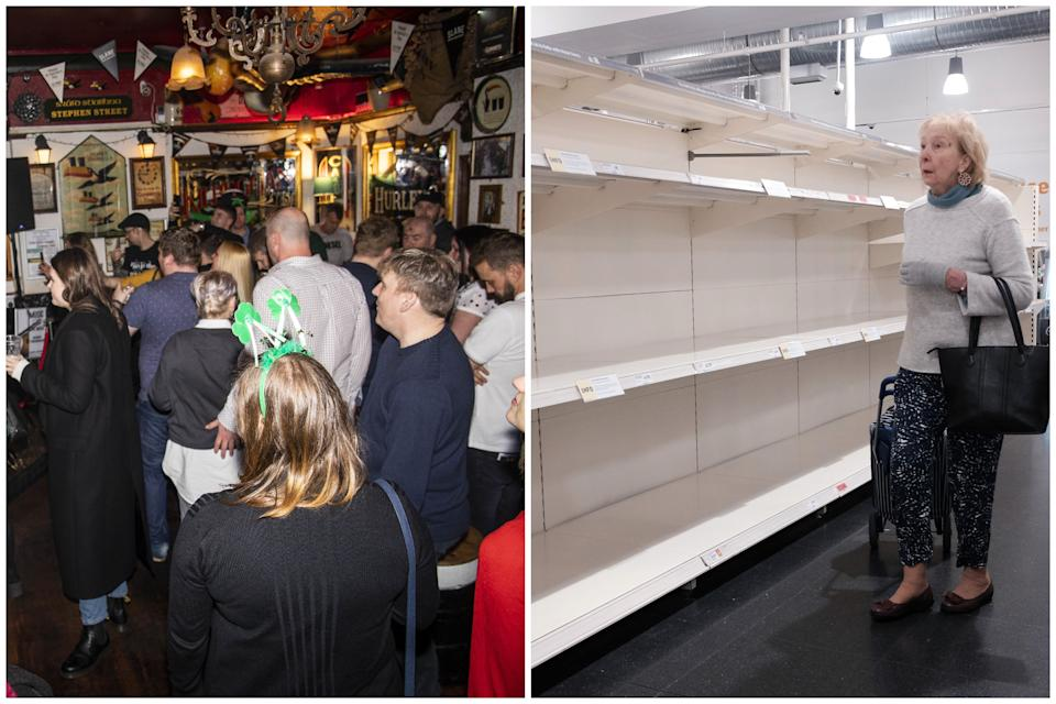 People gather in pubs, left, and a woman walks past empty shelves, right. (SWNS/PA Images)