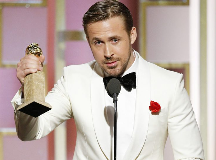 Ryan Gosling accepts the award for Best Actor in a Motion Picture — Musical or Comedy for his role in 'La La Land' during the 74th Annual Golden Globe Awards at The Beverly Hilton Hotel on Jan. 8, 2017 in Beverly Hills. (Photo by Paul Drinkwater/NBCUniversal via Getty Images)