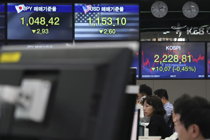 Currency traders watch computer monitors near the screens showing the Korea Composite Stock Price Index (KOSPI), right, and the foreign exchange rates at the foreign exchange dealing room in Seoul, South Korea, Wednesday, Jan. 15, 2020. Asian shares have retreated as conflicting reports raised concerns over the likely outcome of a trade deal to be signed by the U.S. and China. (AP Photo/Lee Jin-man)