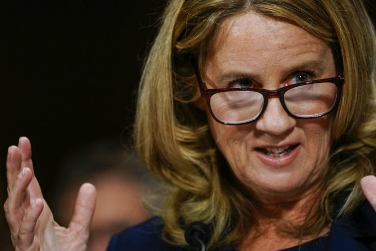 Christine Blasey Ford, pictured during Kavanaugh's confirmation, testified before Congress that Kavanaugh sexually assaulted her in the 1980s (AFP Photo/Melina Mara)