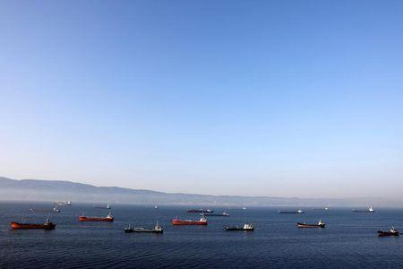 Oil tankers wait to dock at Tupras refinery near the northwestern Turkish city of Izmit