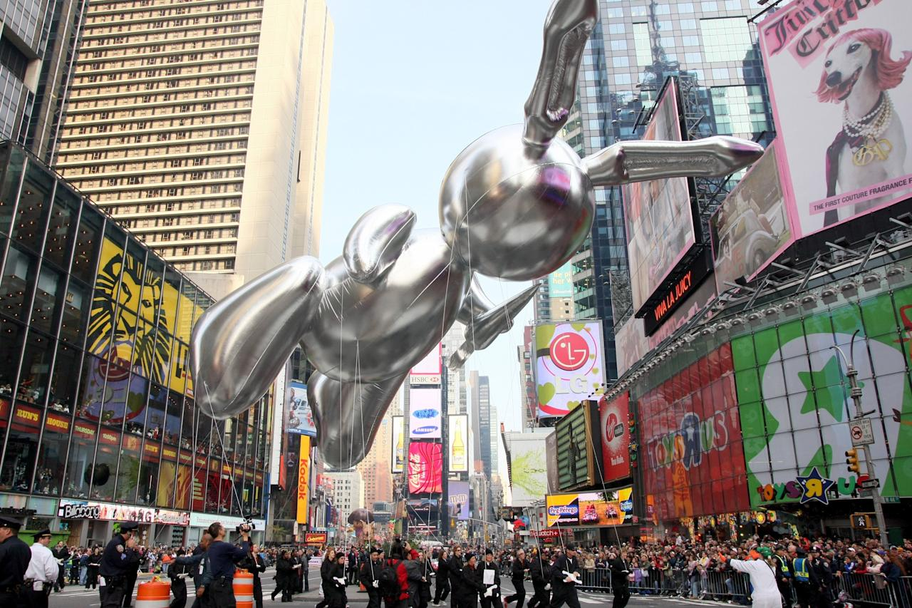 """In 2007, Otterness ceded the throne to his natural successor: the balloon enthusiast and emblem of art-world excess known as <a href=""""https://www.wmagazine.com/topic/jeff-koons?mbid=synd_yahoo_rss"""">Jeff Koons</a>. Earlier this year, a smaller, solid version of the silver rabbit he created for the parade sold for a <a href=""""https://www.wmagazine.com/story/jeff-koons-rabbit-sculpture-most-expensive-work-by-living-artist-christies-auction?mbid=synd_yahoo_rss"""">record $91.1 million</a>, making it the most expensive work ever by a living artist."""