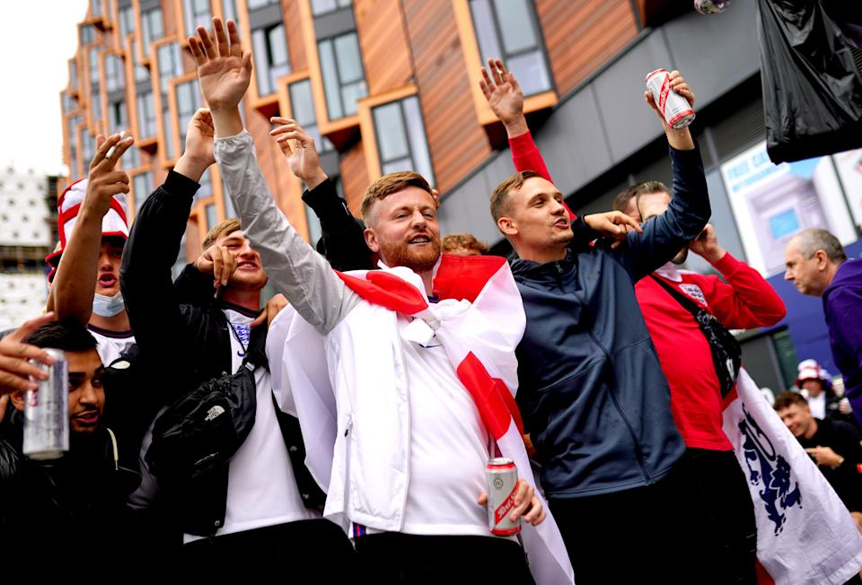 England fans arrive at Wembley Stadium ahead of the UEFA Euro 2020 Group D match between England and Scotland (PA)