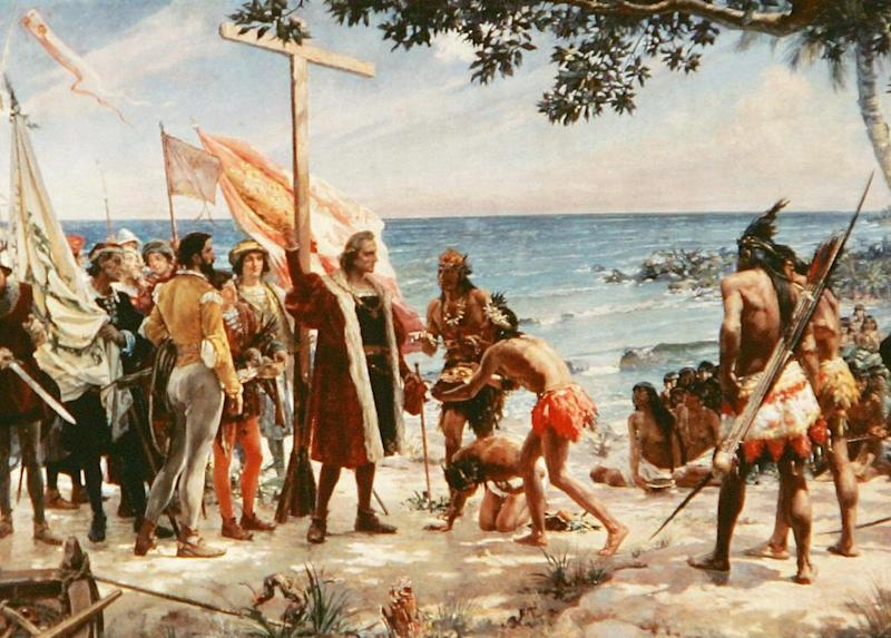 An undated painting shows Christopher Columbus arriving at one of the Caribbean islands on his voyage of discovery (AFP/Getty Images)