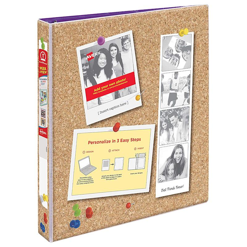 "Avery Peek A View Durable Customizable Corkboard Binder, 1"" Round Rings, Bulletin Board Design"