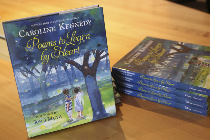 "In this Tuesday, March 26, 2013 photo, copies of Caroline Kennedy's new book ""Poems to Learn by Heart"" sit on display during an interview with The Associated Press in New York. (AP Photo/Mary Altaffer)"