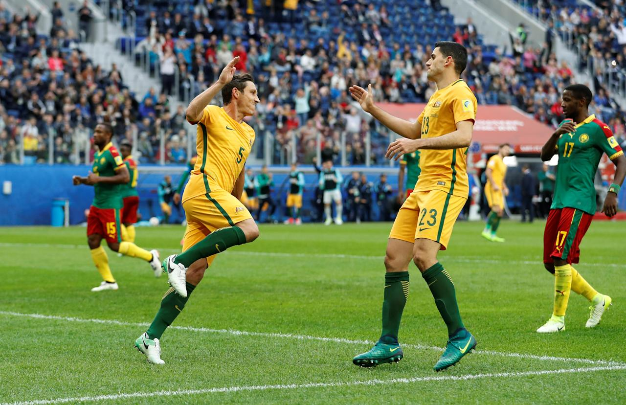 Soccer Football - Cameroon v Australia - FIFA Confederations Cup Russia 2017 - Group B - Saint Petersburg Stadium, St. Petersburg, Russia - June 22, 2017   Australia's Mark Milligan celebrates scoring their first goal with Tom Rogic    REUTERS/Carl Recine