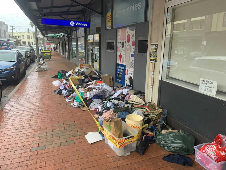 Piles of unwanted goods outside Waverley Vinnies. Source: Supplied