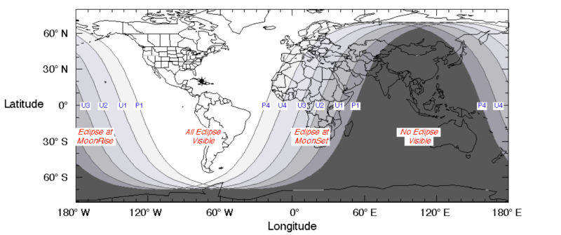 A NASA map shows the regions of the world where the total lunar eclipse of Jan. 20 to 21 was visible. (Courtesy NASA)