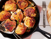 "<p>An easy two-pan technique helps you achieve a beautiful crispy chicken without a lot of effort. Serve it with your <a href=""https://www.countryliving.com/food-drinks/g2696/mashed-potato-recipes/"" rel=""nofollow noopener"" target=""_blank"" data-ylk=""slk:favorite mashed potatoes"" class=""link rapid-noclick-resp"">favorite mashed potatoes</a>.</p><p><strong><a href=""https://www.countryliving.com/food-drinks/a28942039/crispy-chicken-thighs-with-garlic-and-rosemary-recipe/"" rel=""nofollow noopener"" target=""_blank"" data-ylk=""slk:Get the recipe"" class=""link rapid-noclick-resp"">Get the recipe</a>.</strong></p><p><strong><a class=""link rapid-noclick-resp"" href=""https://www.amazon.com/Utopia-Kitchen-Pre-Seasoned-Cast-Skillet/dp/B00X4WQMAS/ref=sxin_3_ac_d_rm?tag=syn-yahoo-20&ascsubtag=%5Bartid%7C10050.g.34100795%5Bsrc%7Cyahoo-us"" rel=""nofollow noopener"" target=""_blank"" data-ylk=""slk:SHOP CAST IRON SKILLETS"">SHOP CAST IRON SKILLETS</a><br></strong></p>"
