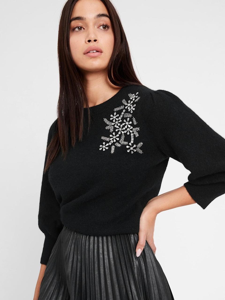 <p>No need for a brooch with this <span>Banana Republic Embellished Puff-Sleeve Sweater</span> ($88, originally $110)! We love the jeweled motif!</p>