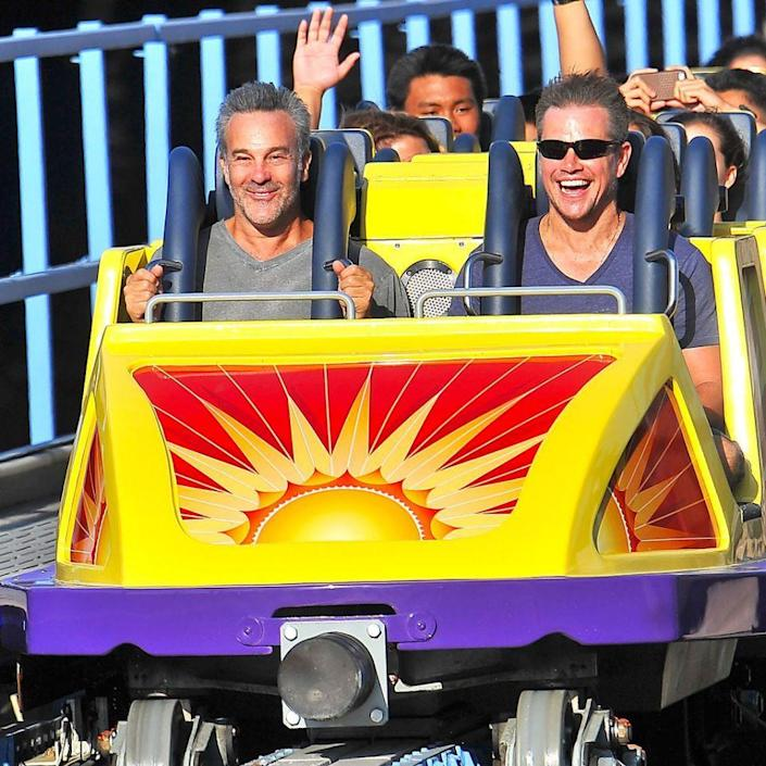 <p>Daddy duty brought the actor to Disneyland. But after riding the California Screamin' once with his wife, he went back for more with a friend — and sat in the front row. You didn't think Jason Bourne would be scared of a little roller coaster, did you? (Photo: Splash News) </p>