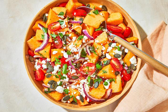 <p>This refreshing cantaloupe salad is tossed with tangy lime and garnished with crunchy pepitas and salty cotija cheese. Chili powder and cumin add a Southwestern spin. Enjoy as dinner side or light lunch.</p>