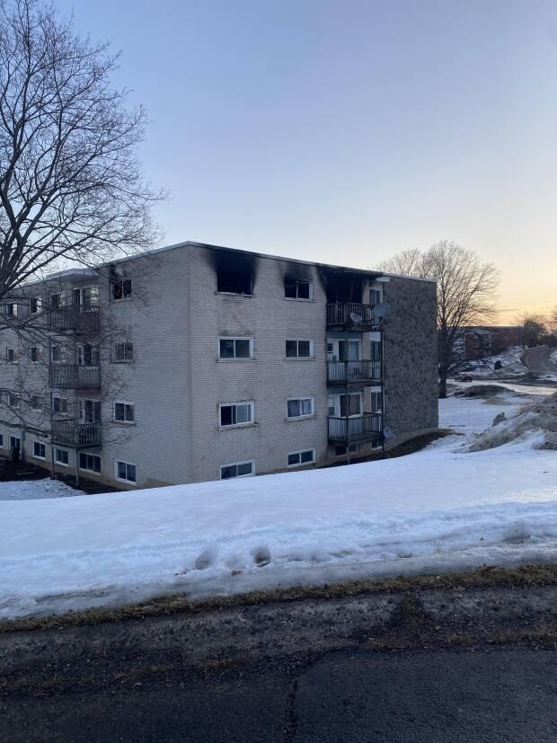The blaze at the Onondaga Street apartment building was under control by Friday afternoon. (Submitted by Nina Landry - image credit)