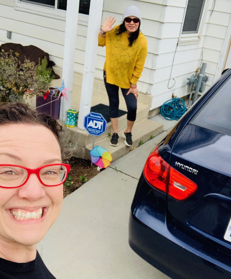 Chelsie Acosta delivers goods to Salt Lake City resident Elizabeth Montoya. (Courtesy of Chelsie Acosta)