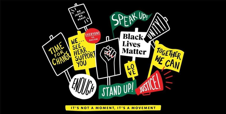 In this undated image provided by Starbucks via Twitter is a graphic with Black Lives Matter signs for the company's new t-shirts. Starbucks announced Friday, June 12, 2020, that it is creating its own Black Lives Matter shirt that will soon be sent to more than 250,000 store partners for employees to wear if they choose. The move comes after the coffee chain reportedly banned employees from wearing Black Lives Matter gear.(Starbucks via AP)
