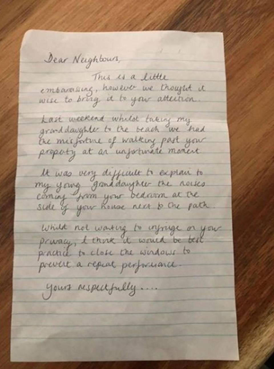 A Queensland homeowner has been left shocked after receiving a letter from a neighbour. Photo: Facebook