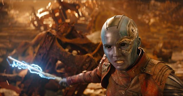 Nebula (Karen Gillan) is among those still standing at the end of <i>Infinity War</i>. Will the character have the same kind of key role in the defeat of Thanos as in the comics?