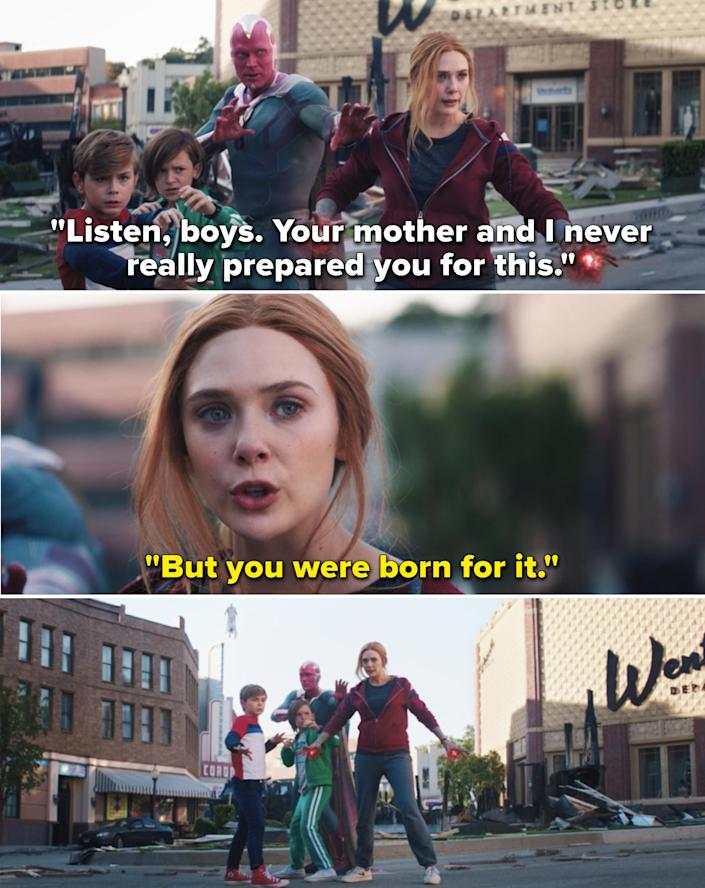 """Vision telling the boys he and Wanda didn't prepare them for a fight, but Wanda assuring them they were """"born for it"""""""